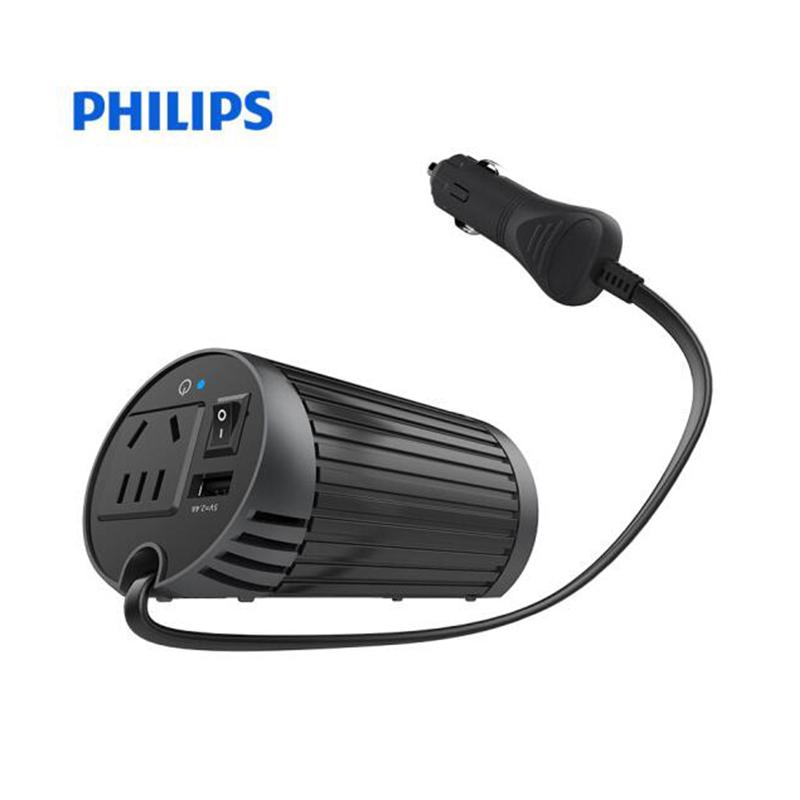飞利浦(PHILIPS)车载逆变器/车载充电器 DLP2039 12V转220V 电源转换器/插座独立开关 USB2.4A 黑色