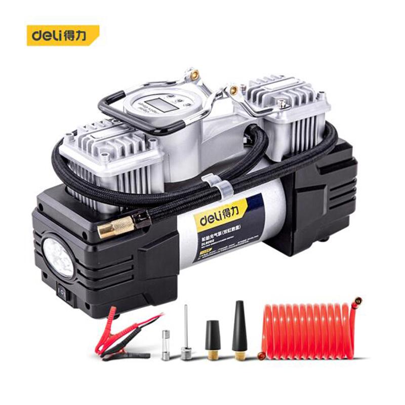 得力(deli)DL8060 车载充气泵预设胎压金属双30缸便携式12v电动打气泵打气筒 带灯可测压